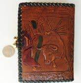 Vintage Spanish leather purse wallet embossed with bull fight matador DAMAGED
